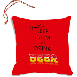 meSleep Red Brother Quotes Raksha Bandhan Cushion Cover (16x16) With Beautiful Rakhis
