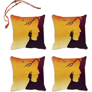 meSleep Brown Raksha Bandhan Cushion Cover (16x16)- Set Of 4  With Beautiful Rakhis