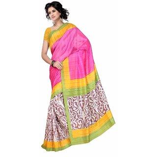 Fabplus Multi color Bhagalpuri silk sareewith blouse piece