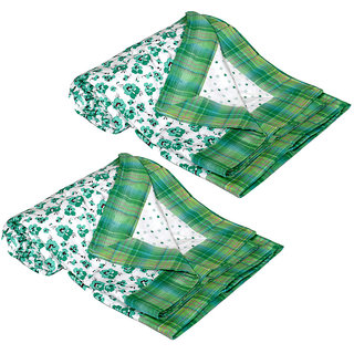 IndiWeaves Cotton White Single Bed Dohar/Ac Blanket (2 Pieces) Size 88x54 Inches