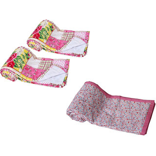 IndiWeaves Combo offer of Micro Fiber Single Bed Dohar (2 Pieces) with Cotton Double Bed Dohar - (Pack of 3 Dohars)