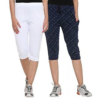 Vimal Cotton Blended Womens Capris(Pack Of 2)