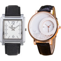 Jack Klein Combo Of Leather Strap Square And Round Dial Elegant Analog Wrist Watches
