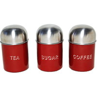 3 Pcs Tea, Coffee & Sugar Canister Set- Dome Red (4511)