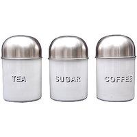 3 Pcs Tea, Coffee & Sugar Canister Set- Dome White (4538)