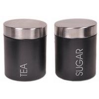2 Pcs Tea & Sugar Canister Set - Black (4866)