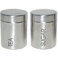 2 Pcs Tea & Sugar Canister Set - Matt Finish (4869)