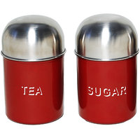 2 Pcs Tea & Sugar Canister Set-Dome Red (4871)