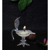 Crystal Diya With Lord Naga Crafted On The Top - Set Of 1 Piece