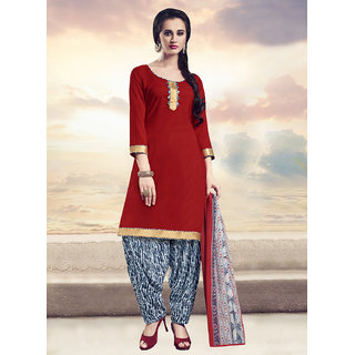 Sareemall Red Dress Material with Matching Dupatta 11SNH11009