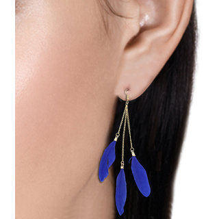 R18Jewels-FashionU Glamorous  Cheerful Blue 3 Feather with Gold Chain Shoulder Dusters Tassel Earring !