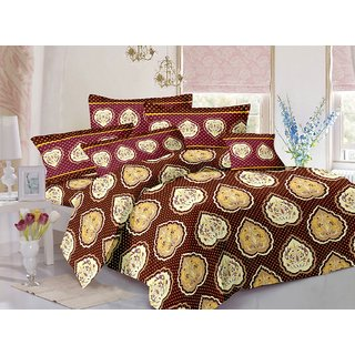 Valtellina Brown  Floral Design Skin Friendly Double Bedsheet with 2 CONTRAST Pillow Cover-Best TC-175