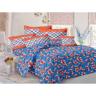 Valtellina Blue  Floral Design 100 Cotton Double Bedsheet with 2 CONTRAST Pillow Cover-Best TC-175