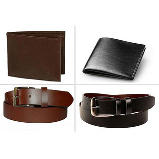 Jack Klein Pack of 2 Leather Wallet And Pack of 2 Leather Belt