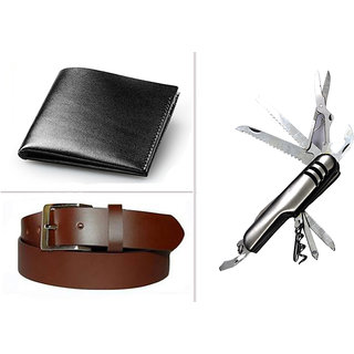 Jack Klein Combo of Black Leather Wallet And Brown Belt Swiss Knife