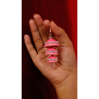 Pink color with pearl JHUMKA in 3 step BY Quilling ART
