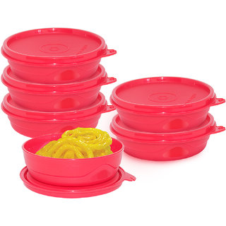 Cello Max Fresh Round  Containers Set Of 6Pcs 225Ml-Red