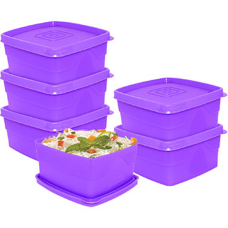 Cello Max Fresh Square Containers Set Of 6Pcs 550Ml-Purple