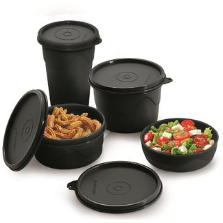 Cello Max Fresh Round Containers Set Of3Pcs 225+375+550Ml + 1 Max Fresh Dinking Glass Cum Container-  Black