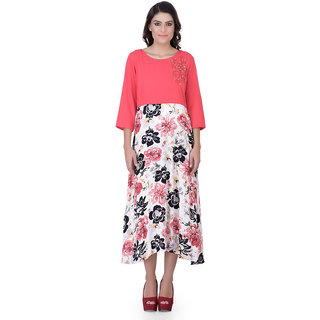 Laabha Women Dress With Waist Down Floral Prints And Hand Work On Left Shoulder