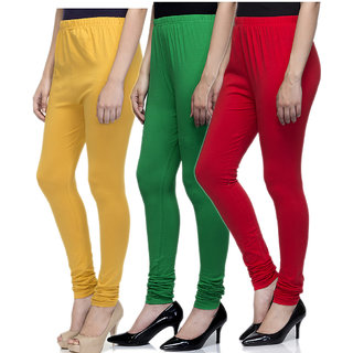 Laabha Women Multicolour Cotton Lycra Churidar Leggings Combo (Pack 3)