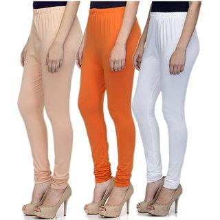 Laabha Women Multicolour Cotton Lycra Churidar Leggings Combo (Pack 3)