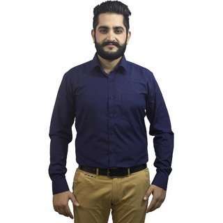 Aces Blue Navy Blue Collared Full Sleeve Poly Cotton Shirt