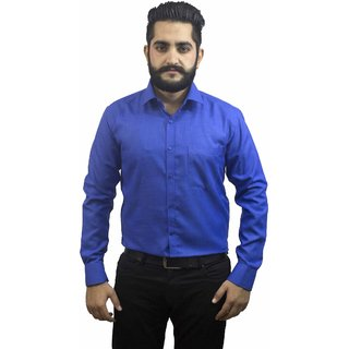 Aces Blue Royal Blue Collared Full Sleeve Linen Shirt