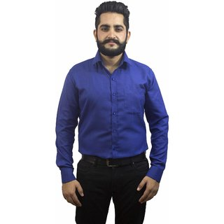 Aces Blue  Collared Full Sleeve Cotton Linen Shirt