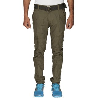 Greentree Mens Olive Cargo Trouser 6 Pocket Cotton Green Casual Cargo
