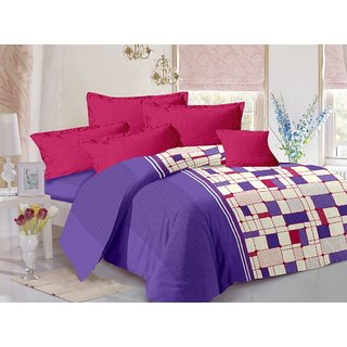 Valtellina Purple  Checkered Design Skin Friendly Double Bedsheet with 2 CONTRAST Pillow Cover-Best TC-175