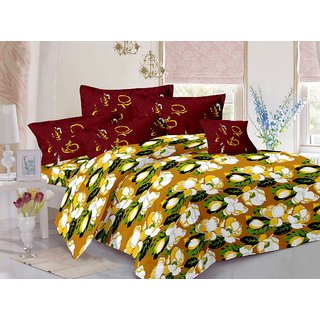 Valtellina Yellow  Floral Design 100 Cotton Double Bedsheet with 2 CONTRAST Pillow Cover-Best TC-175