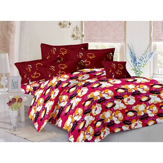 Valtellina Maroon  Floral Design Herbal Cotton Double Bedsheet with 2 CONTRAST Pillow Cover-Best TC-175