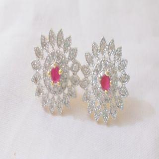 American diamond tops earring pink colour  preet gehna traders