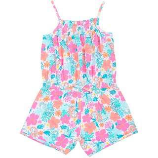 Kids Wear Printed Collared Sleeveless Jumpsuit (Blue  Pink)