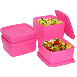 Cello Max Fresh Square Containers -Set Of 4Pcs 350+550+550+875Ml -Pink