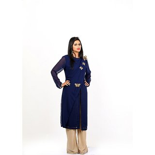 Amalgam Women Georgette Butterfly Blue Tunic Embroidery