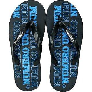 Numero Uno Men's Black And Blue Flip Flops