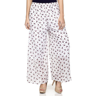 Laabha WomenS Off White Cat Printed Flaired Plazzo