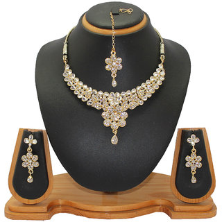 Soni Art Jewellery Kundan with white diamond necklace set jewellery (0010B)