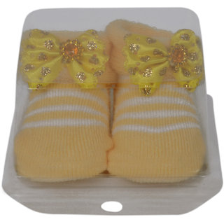 Jyonee Lifestyle yellow color flower booties for kids