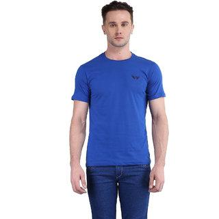Bravezi MenS Solid Royal Blue Round Neck T-Shirt