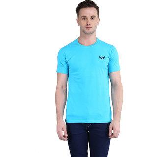 Bravezi MenS Solid Light Blue Round Neck T-Shirt