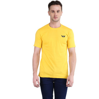 Bravezi MenS Solid Yellow Round Neck T-Shirt
