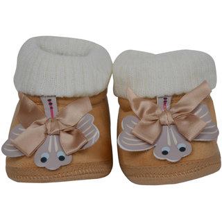 Jyonee Lifestyle beige color ribbon booties for kids