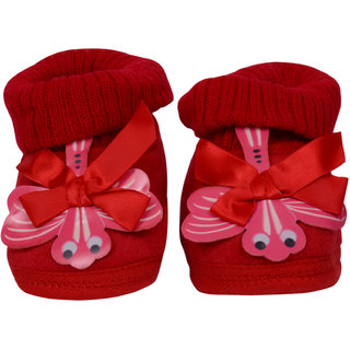 Jyonee Lifestyle red color ribbon booties for kids