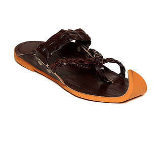 TEN Brown Leather Slippers