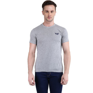 Bravezi MenS Solid Light Grey Round Neck T-Shirt
