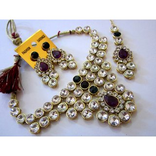 DESIGNER DIAMOND STYLE ONE GRAM GOLD KUNDAN NECKLACE SET EARRINGS & MANGTIKA