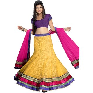 Aaina Beautiful Yellow And Pink Net Velvet Lehenga (AN1006)